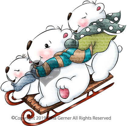 Beary Fun Sleigh Ride Digi Doodles Digi Stamp