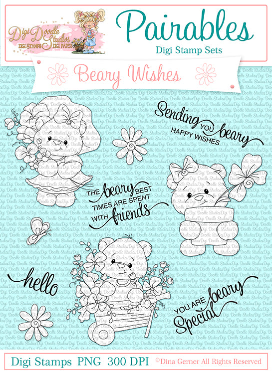Beary Wishes Pairables Digi Doodles Digi Stamp Set
