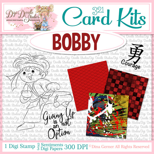 Bobby Martial Artist Digi Doodles Card Kit