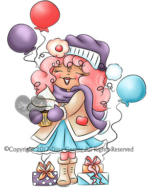 Candy Cupcake Winter Birthday Digi Stamp Instant Download Digital Stamp