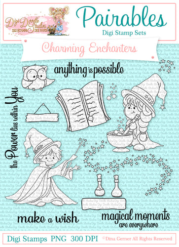 Digi Doodles Charming Enchanters Wizard Pairables Digi Stamp Set