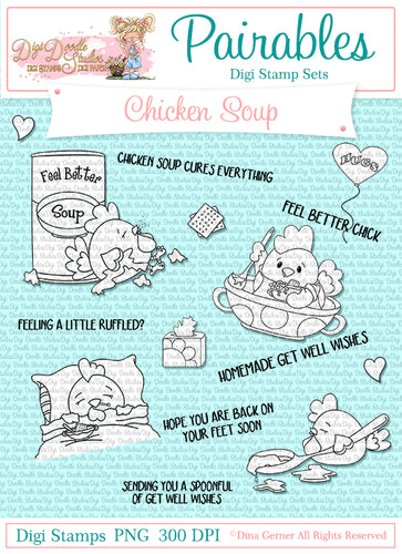 Chicken Soup Pairables Digi Doodles Digi Stamp Set