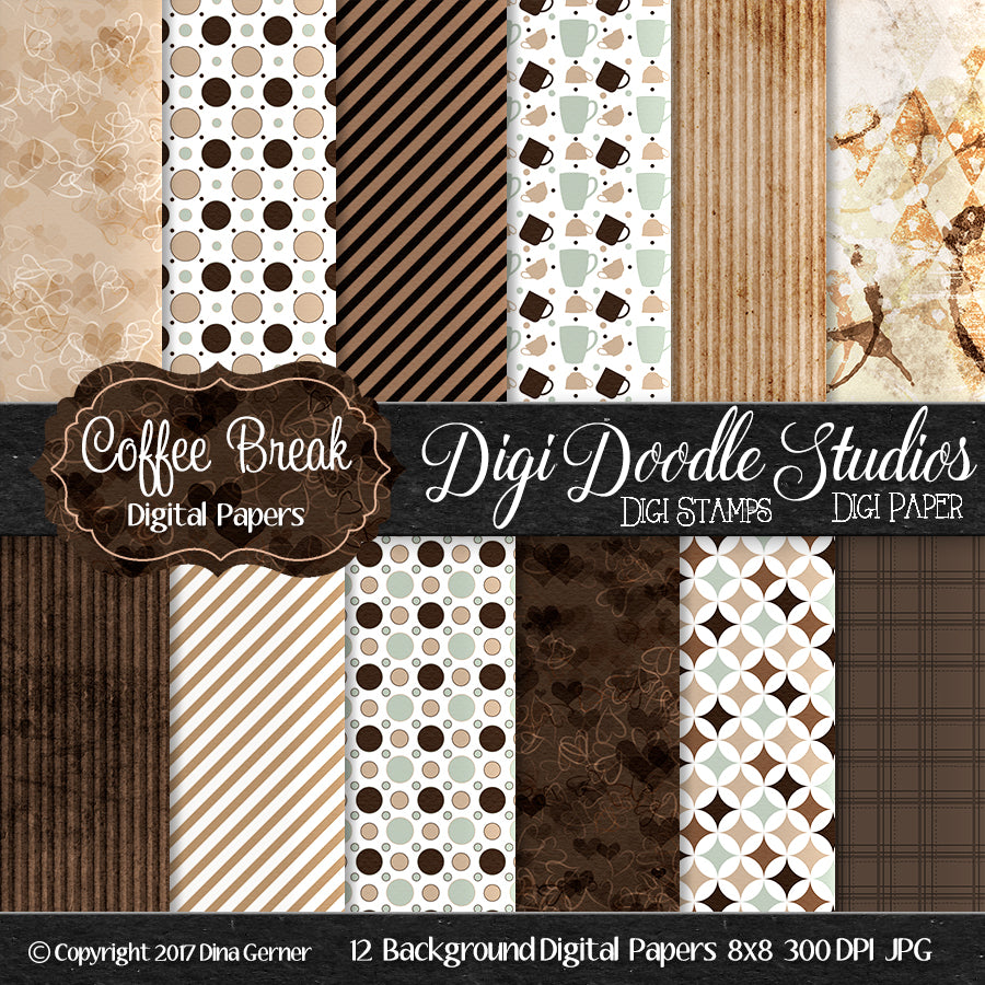 Digi Doodles Coffee Break 8x8 Digital Paper