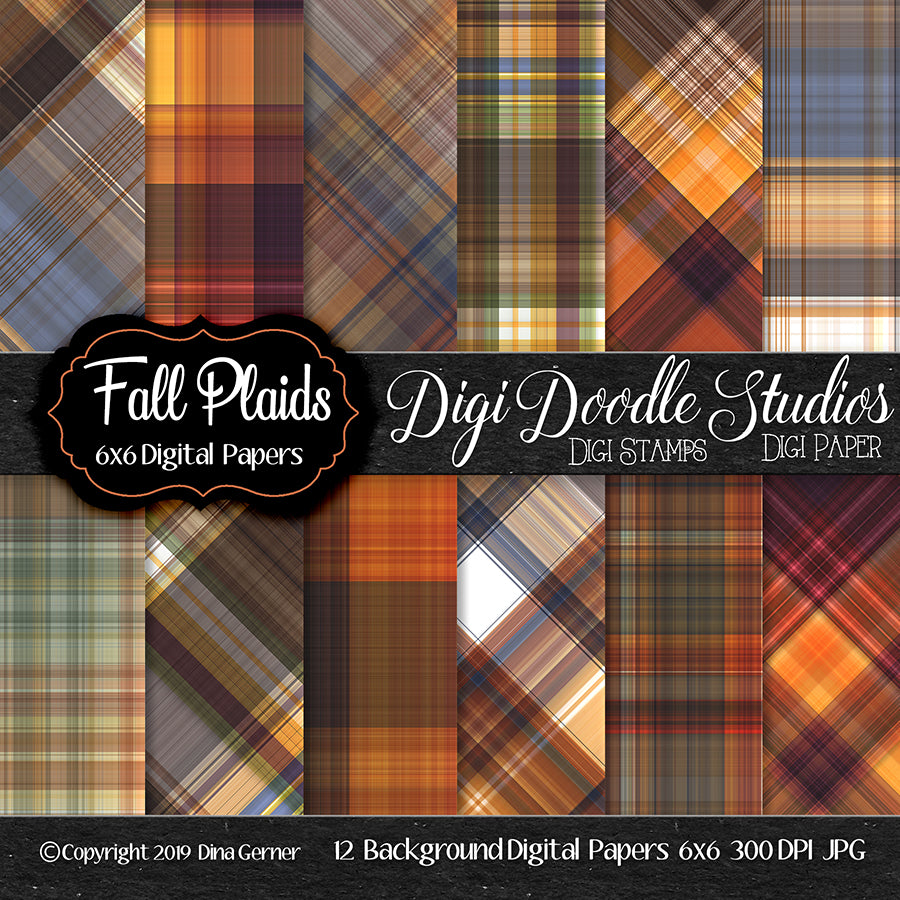 Fall Plaids N' Patterns Digi Doodles 6x6 Digi Paper Pack