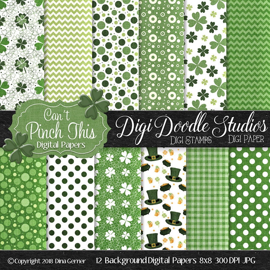Can't Pinch This St Patrick's Day Digi Doodles Paper