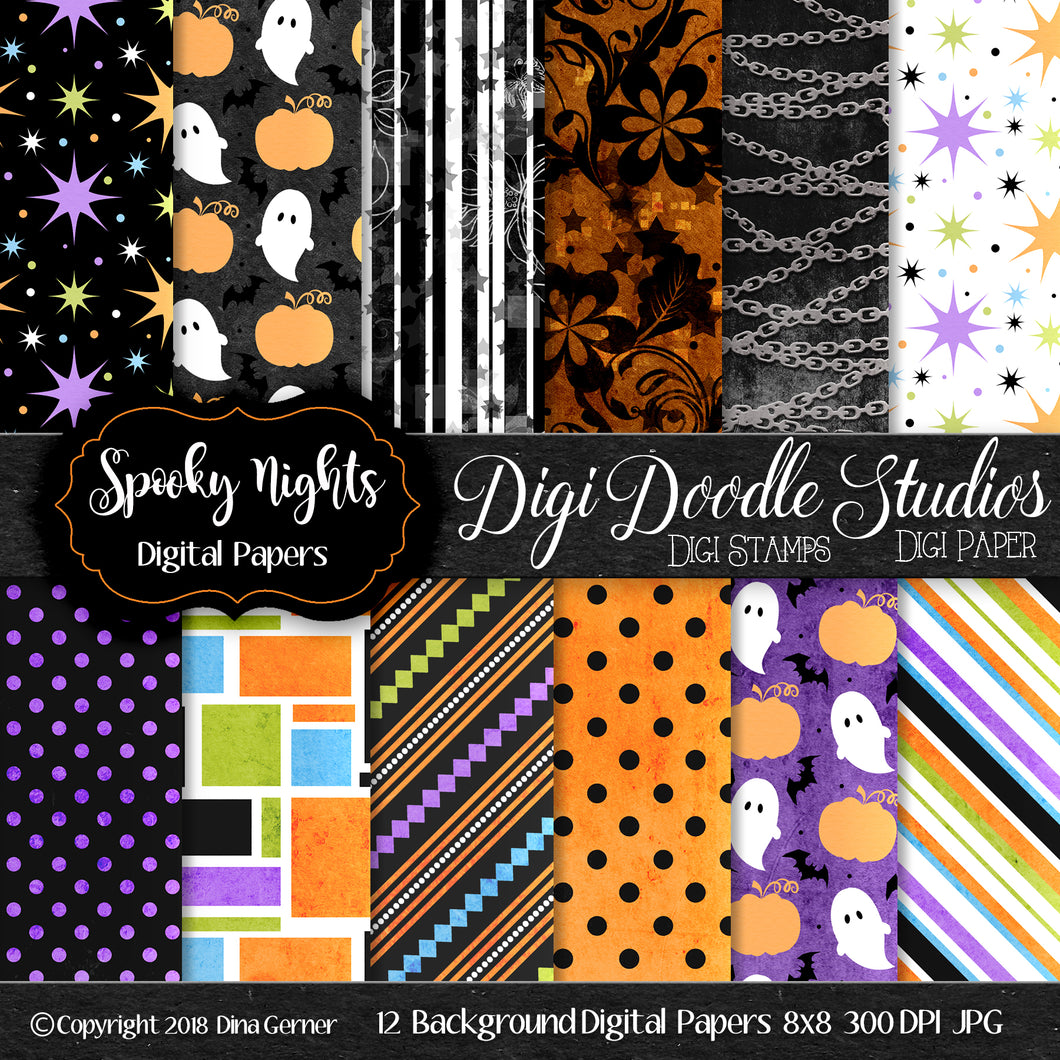 Digi Doodles Spooky Nights DIgital Paper
