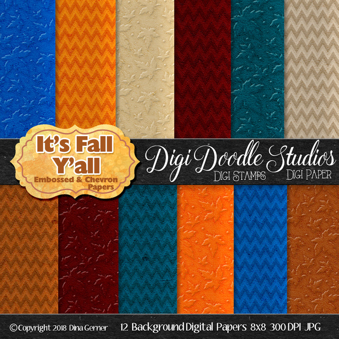 It's Fall Y'All Digi Doodles Embossed N Chevron Background Paper