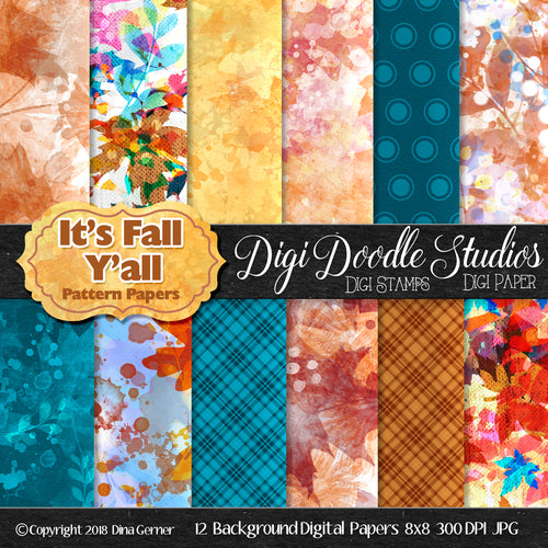 It's Fall Y'All Digi Doodles Pattern Background Paper