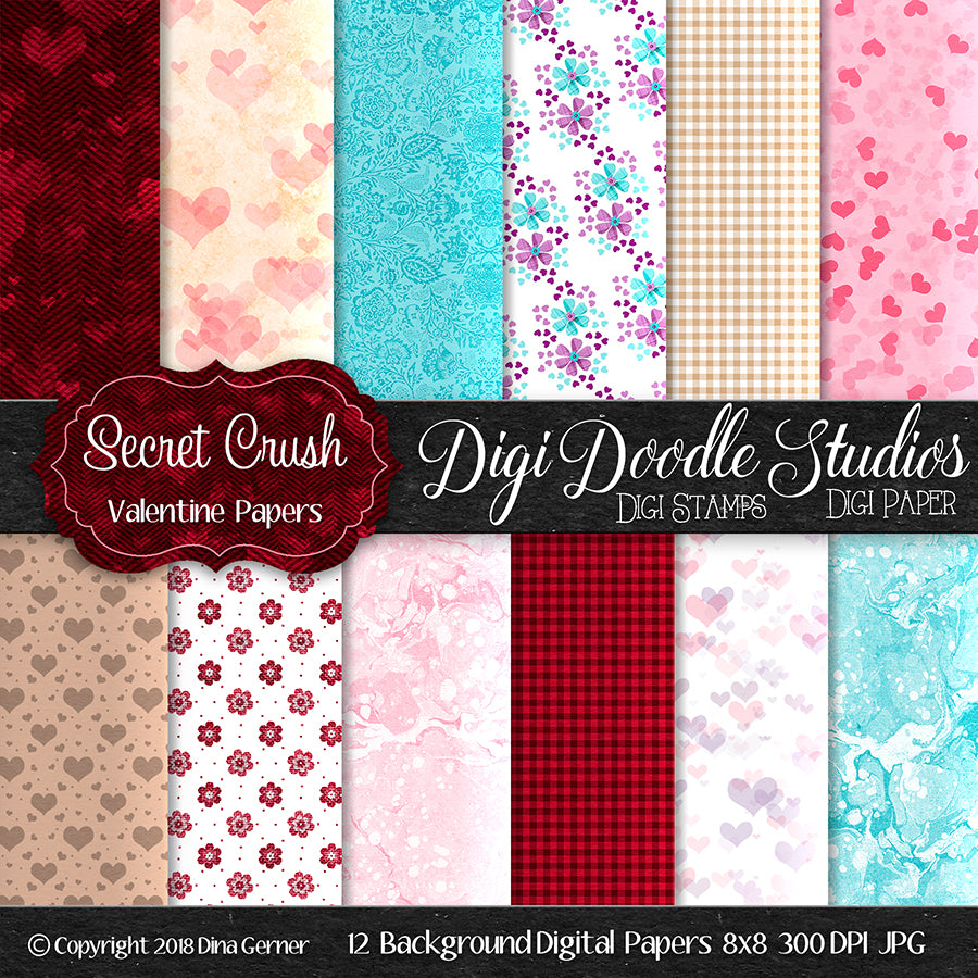 Digi Doodles Secret Crush 8x8 Digital Paper