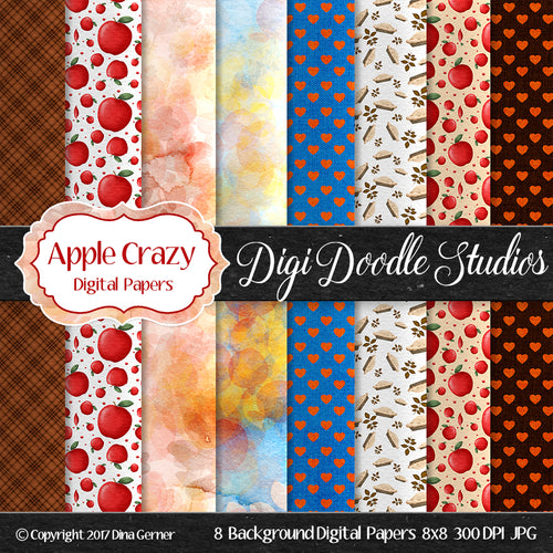 Digi Doodles Apple Crazy 8x8 Digital Paper