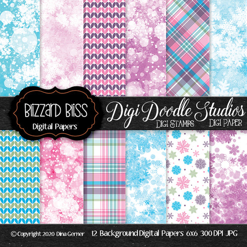 Blizzard Bliss 6x6 Digi Doodles Digi Paper Pack
