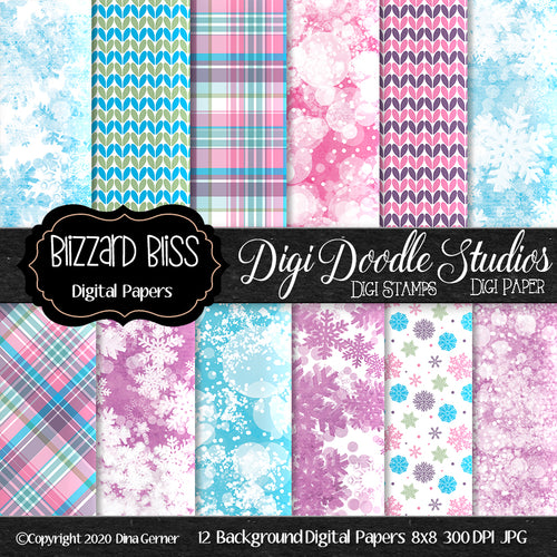 Blizzard Bliss 8x8 Digi Doodles Digi Paper Pack
