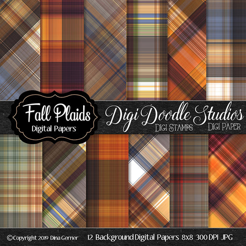 Fall Plaids Digi Doodles 8x8 Digi Paper Pack