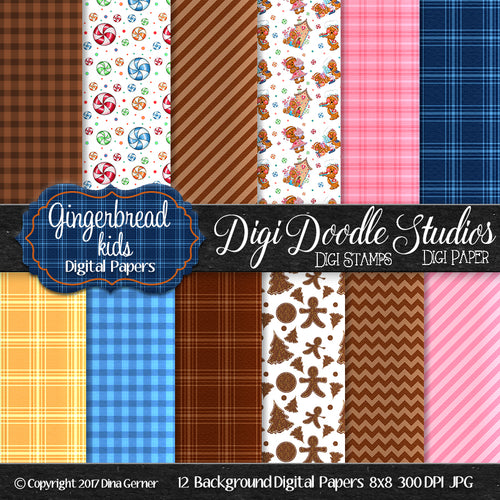Digi Doodles Gingerbread Kids 8x8 Digital Paper