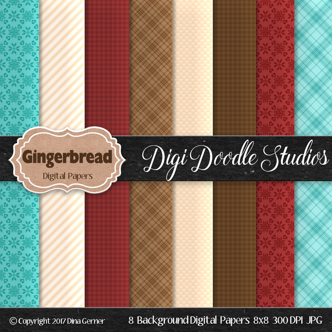 Digi Doodles Gingerbread 8x8 Digital Paper