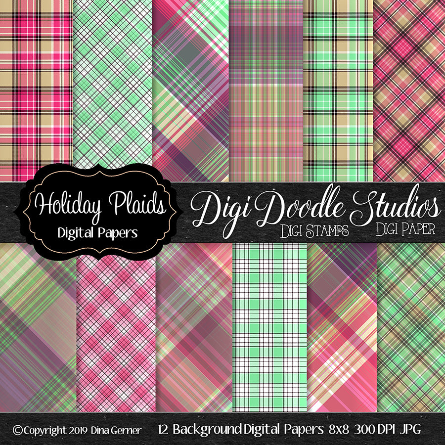 Holiday Plaids Digi Doodles 8x8 Digi Paper Pack