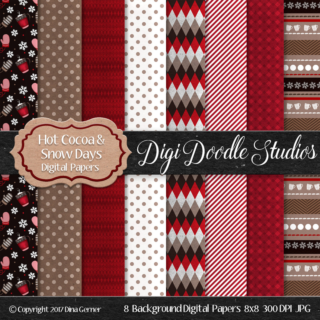 Digi Doodles Hot Cocoa & Snow Days 8x8 Digital Paper