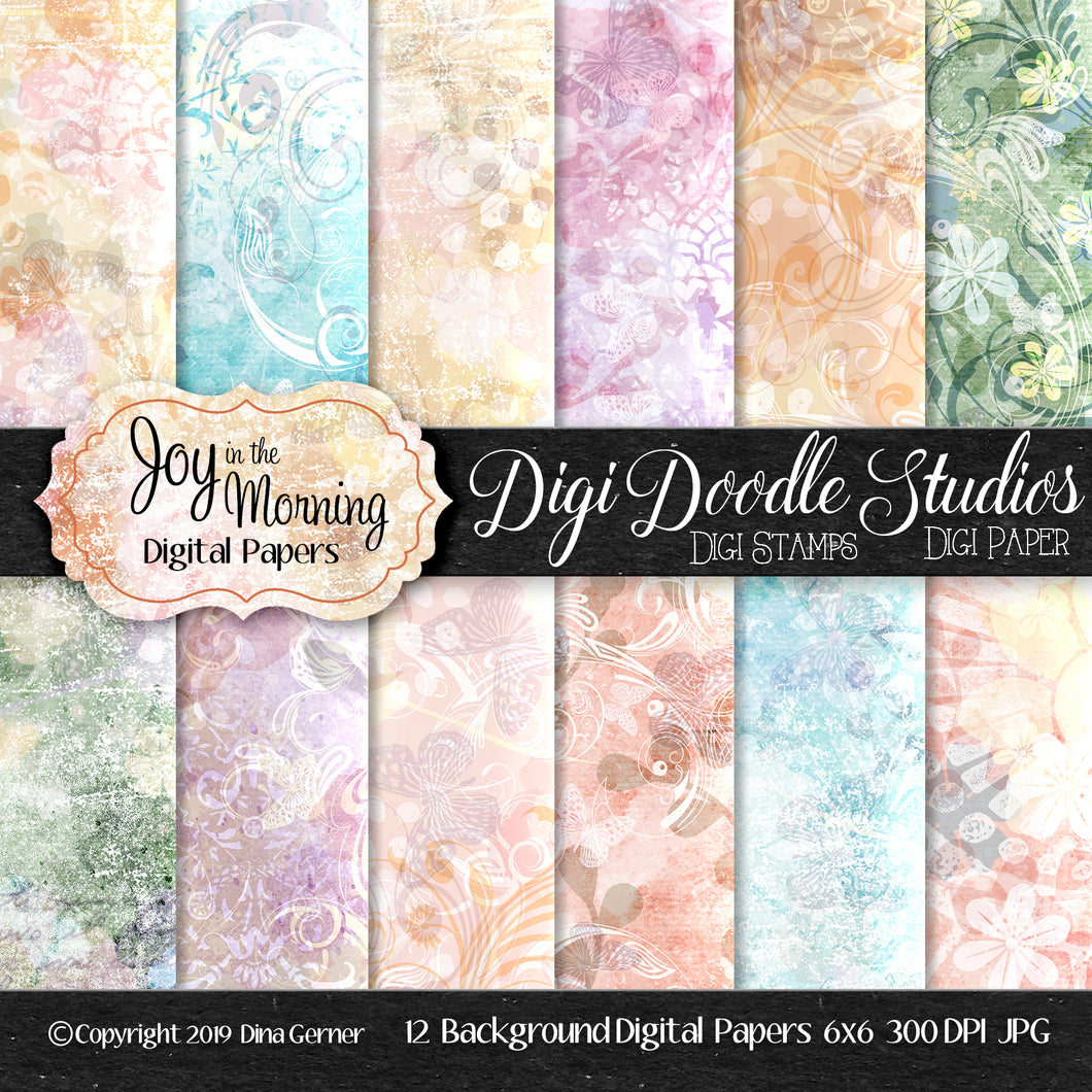 Digi Doodles Joy in the Morning 6x6 Digi Card Making Papers