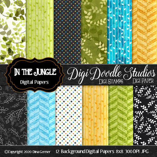 In The Jungle Digi Doodles Digi Paper Pack