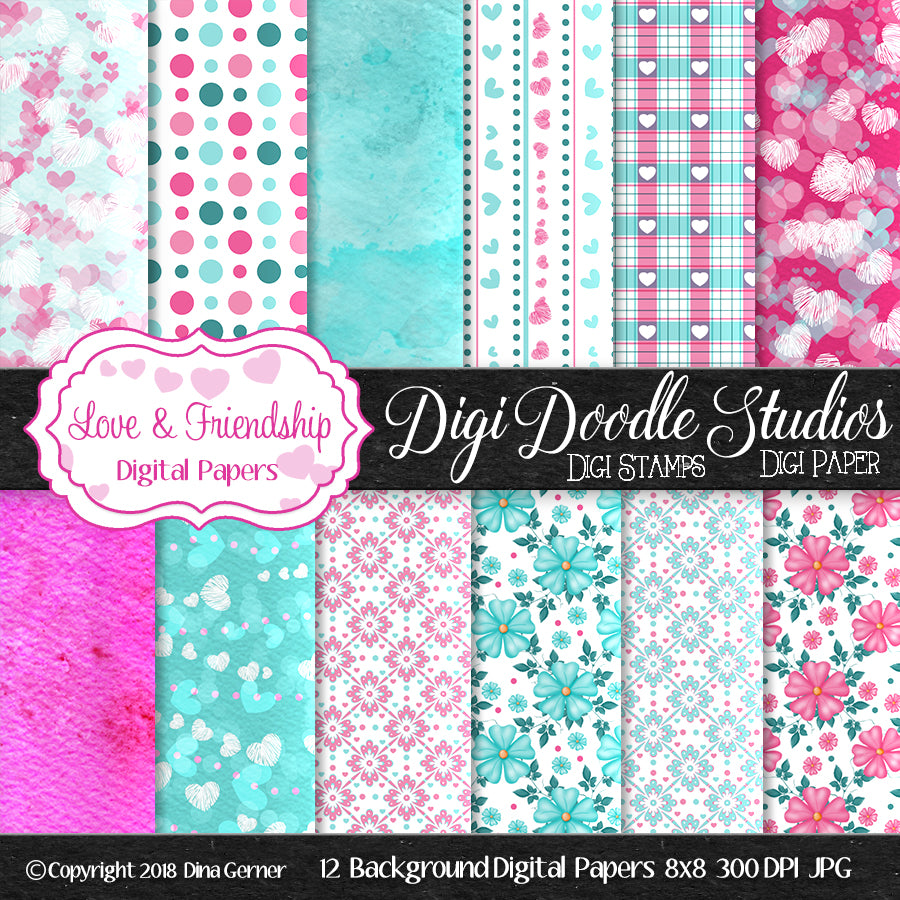 Digi Doodles Love & Friendship Digital Background Paper