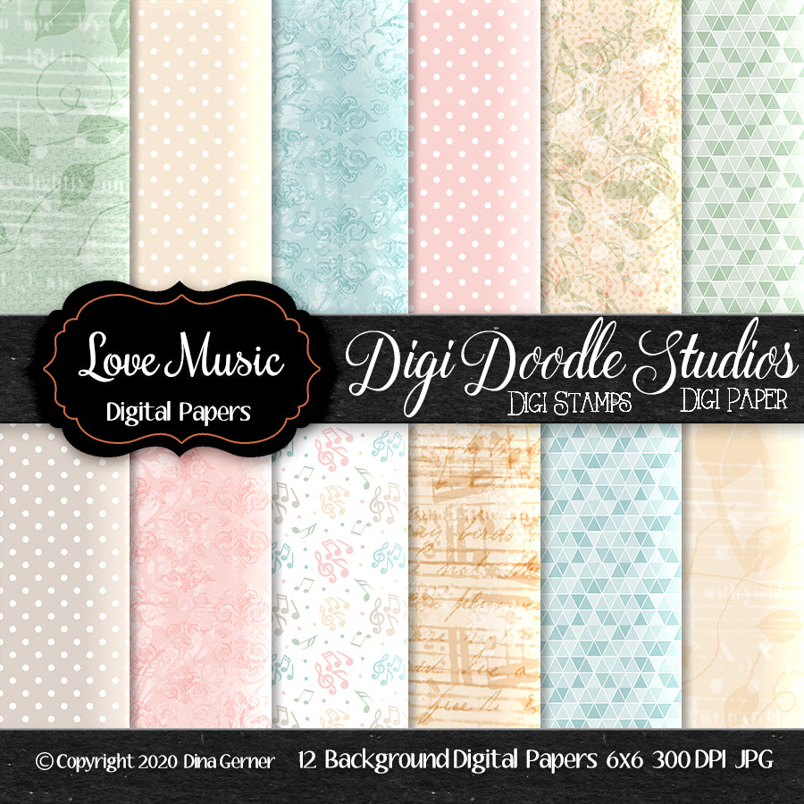 Love Music Digi Doodles 6x6 Digi Paper Pack