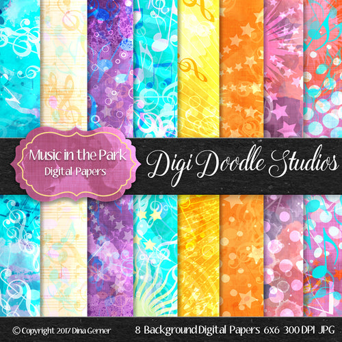 Digi Doodles Music in the Park 6x6 Digital Paper