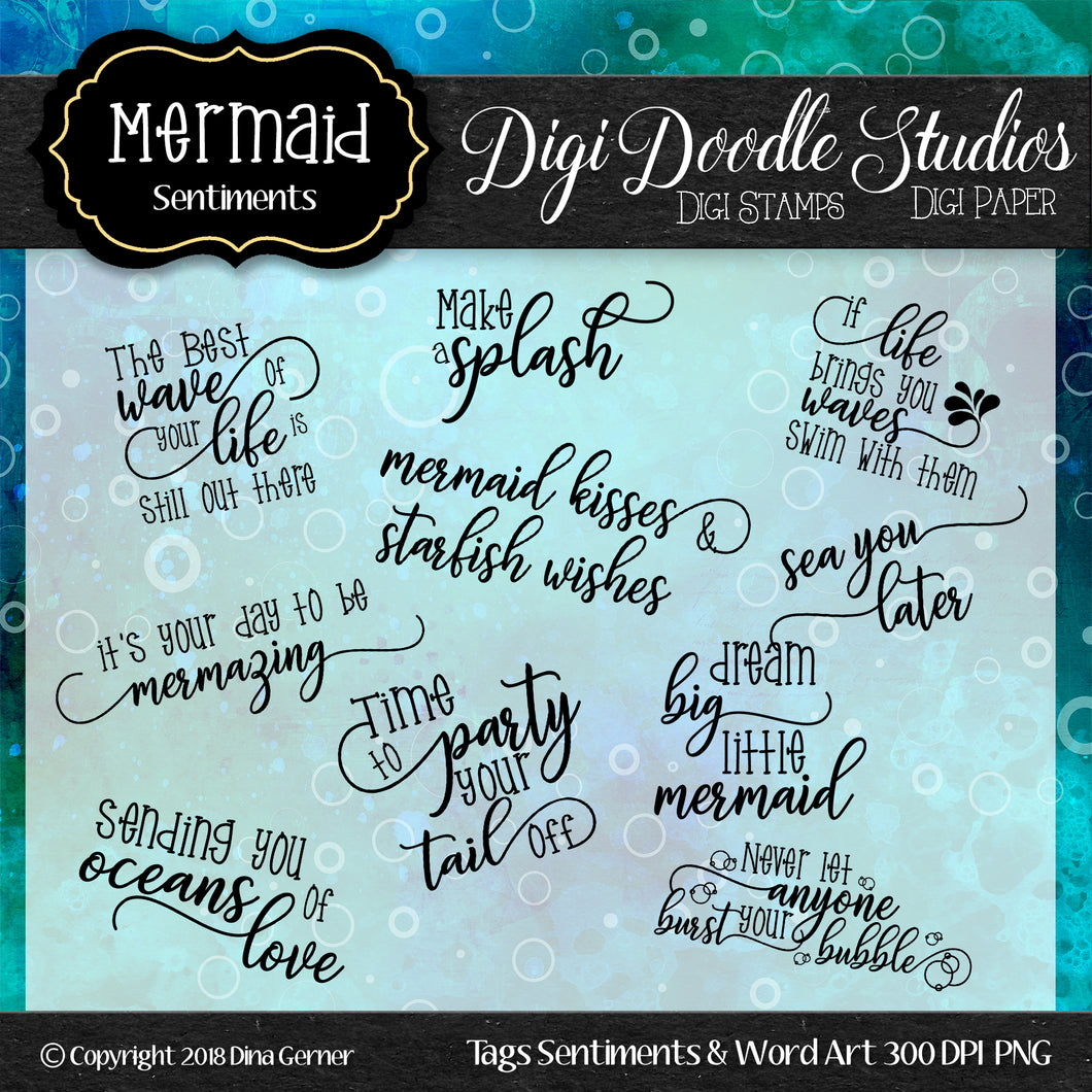 Digi Doodles Mermaid Sentiments