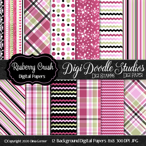 Rasberry Crush 8x8 Digi Paper Pack
