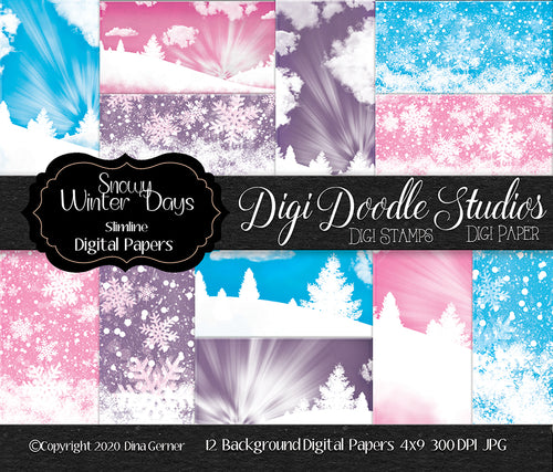 Snowy Winter Days Slimline Digi Doodles Digi Paper Pack