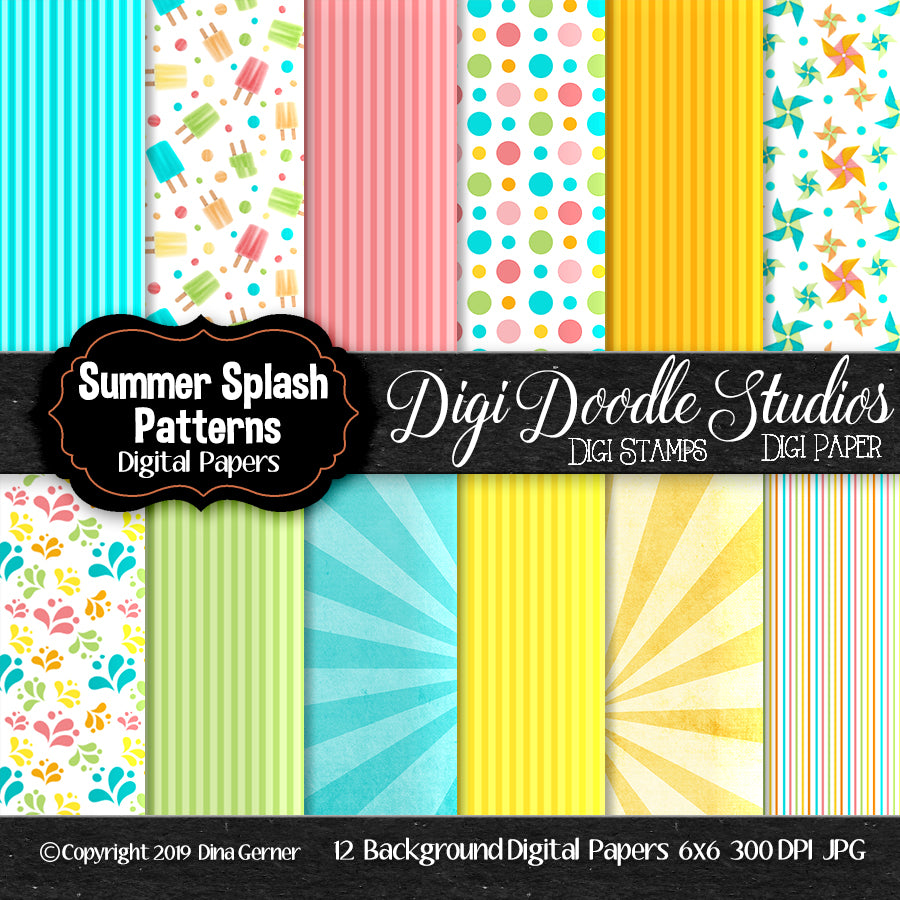 Digi Doodles Summer Splash 6x6 Pattern Digi Background Paper