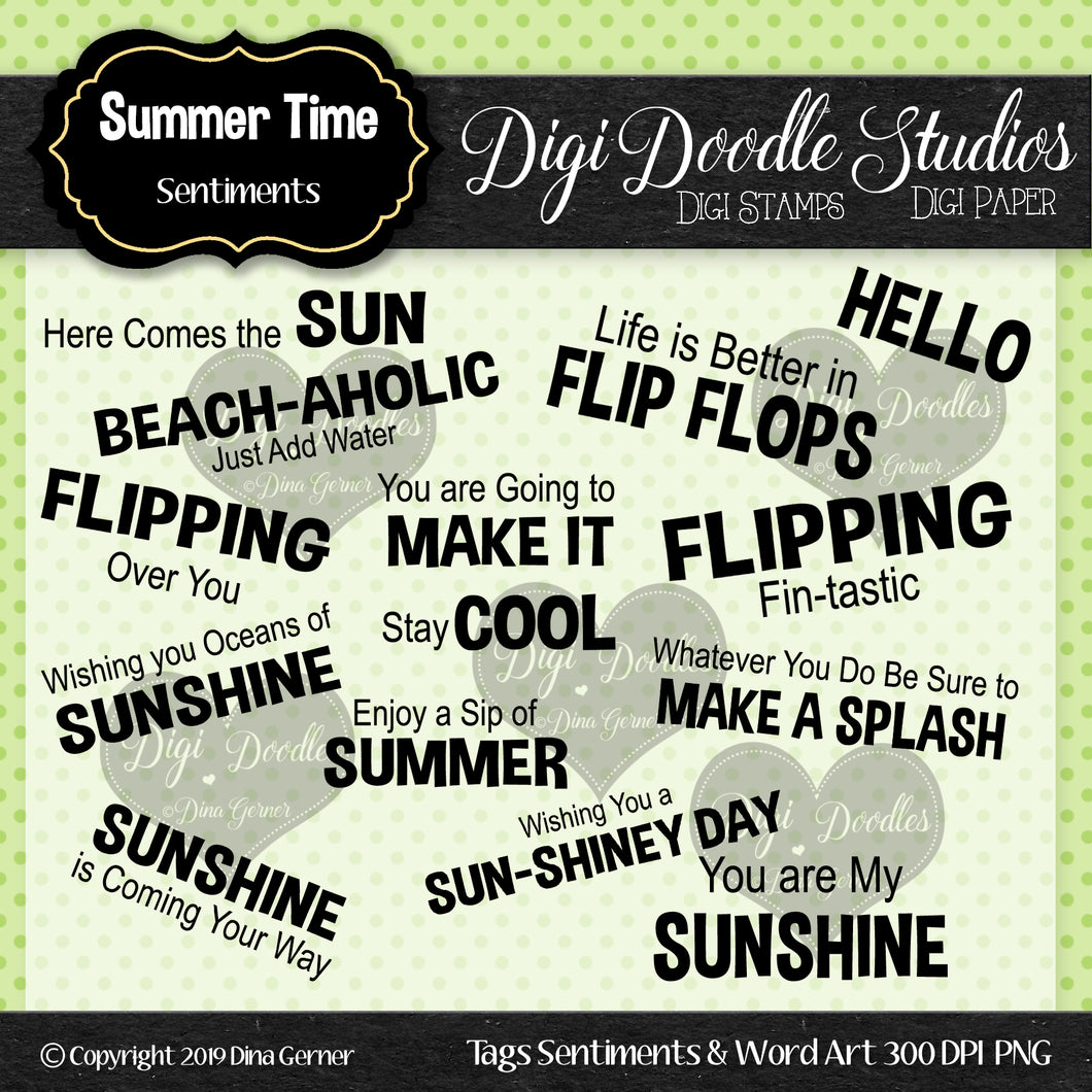 Digi Doodles Summer Time Sentiments