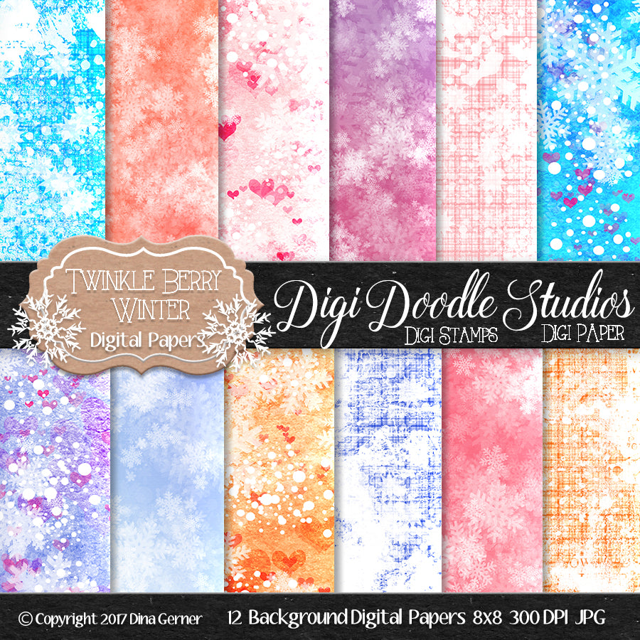 Digi Doodles Twinkle Berry Winter 8x8 Digital Paper
