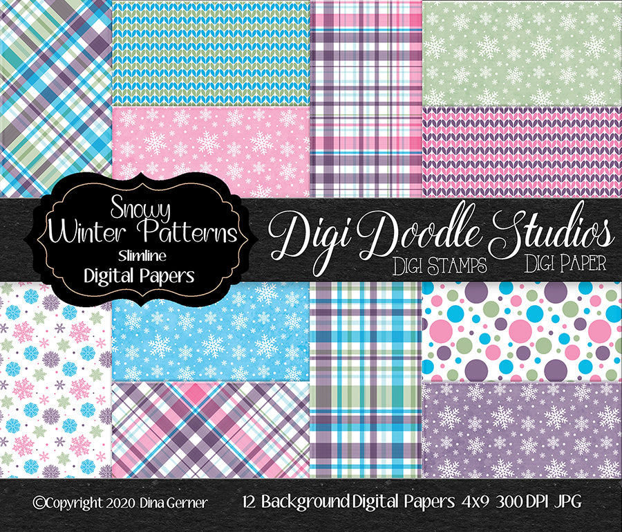 Snowy Winter Patterns Digi Doodles Slimline Digi Paper Pack