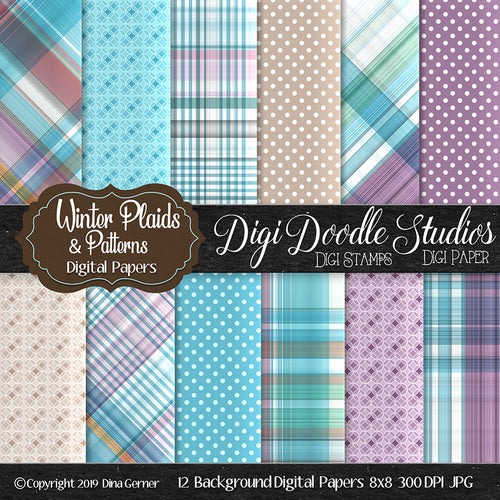 Winter Plaids N' Patterns Digi Doodles 8x8 Digi Paper Pack