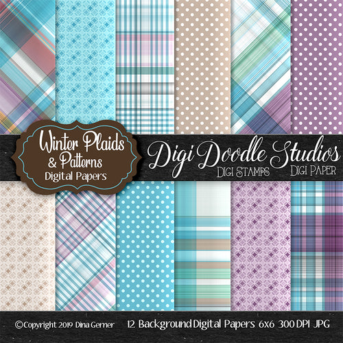 Winter Plaids N' Patterns Digi Doodles 6x6 Digi Paper Pack