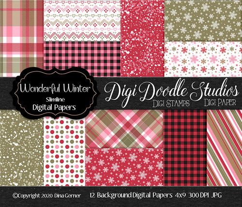 Wonderful Winter Digi Doodles Slimline Paper Pack