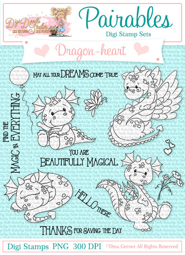 Dragon-Heart Digi Doodles Pairables Digi Stamp Set