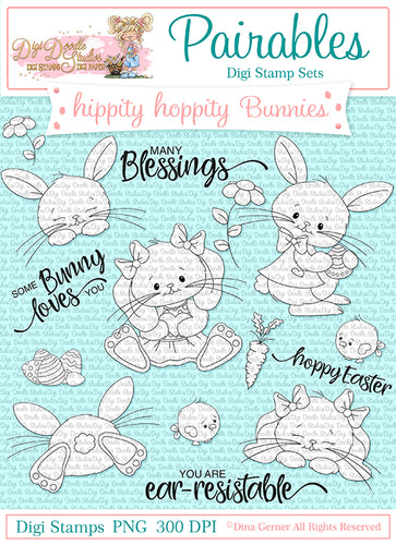 Hippity Hoppity Bunnies Pairables Digi Doodles Digi Stamp Set
