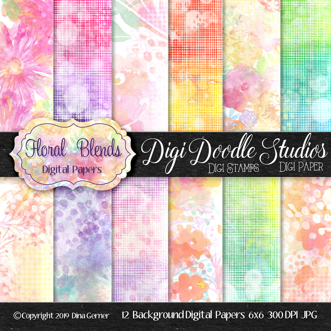 Floral Blends Digi Doodles 6x6 Digital Paper