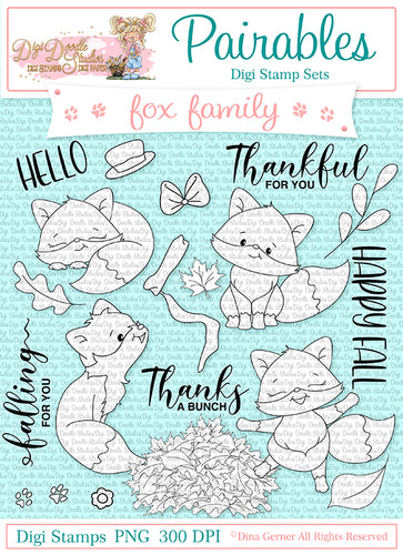 Fox Family Pairables Digi Stamp Set