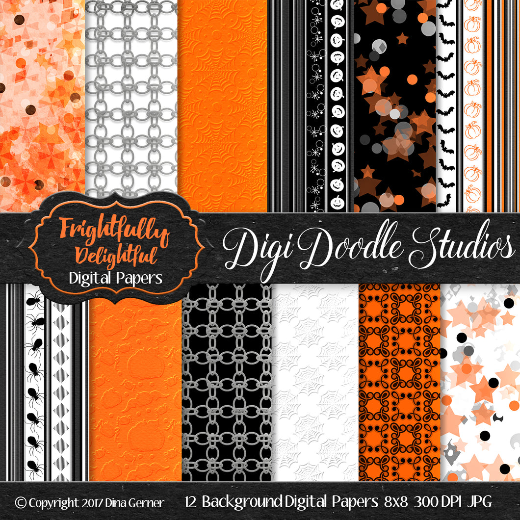 Frightfully Delightful Digi Doodles 8x8 Digital Paper