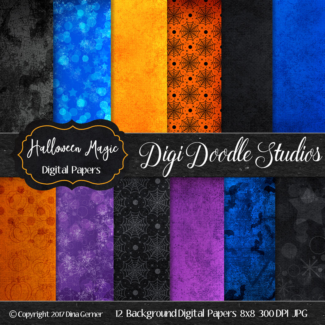 Halloween Magic Digi Doodles 8x8 Digital Paper
