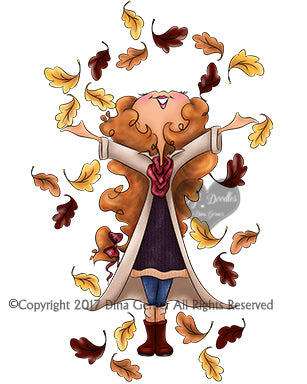 Heidi Autumn Digi Stamp Instant Download Digi Doodles Digital Stamp