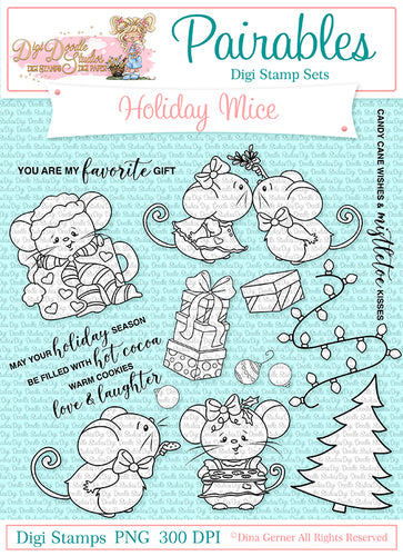 Holiday Mice Pairables Digi Doodles Digi Stamp Set