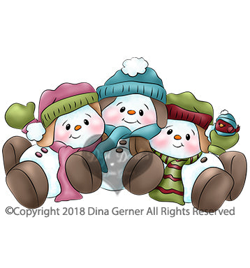 Digi Doodles Holly Jolly & Gliss Snowmen Digi Stamp