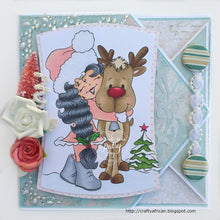 Holly's Reindeer Hugs Digi Stamp Instant Download Digital Stamp