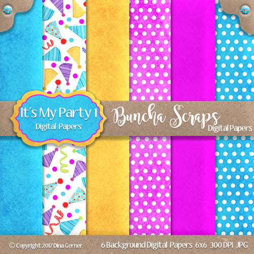 It's My Party 6x6 Printable Digital Background Paper Collection 1