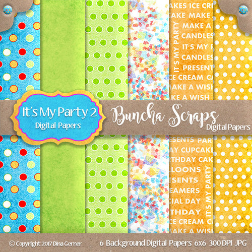 It's My Party 6x6 Printable Digital Background Paper Collection2