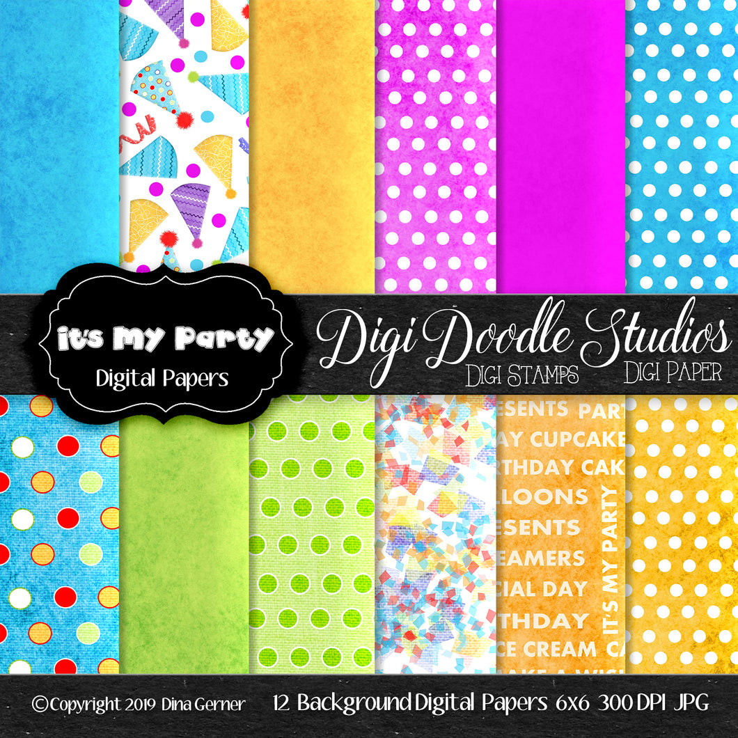 It's My Party 6x6 Printable Card Making Paper Pack
