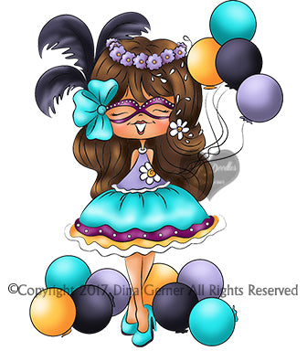 Digi Doodles Julieta Masquerade Ball Digi Stamp Instant Download Digital Stamp